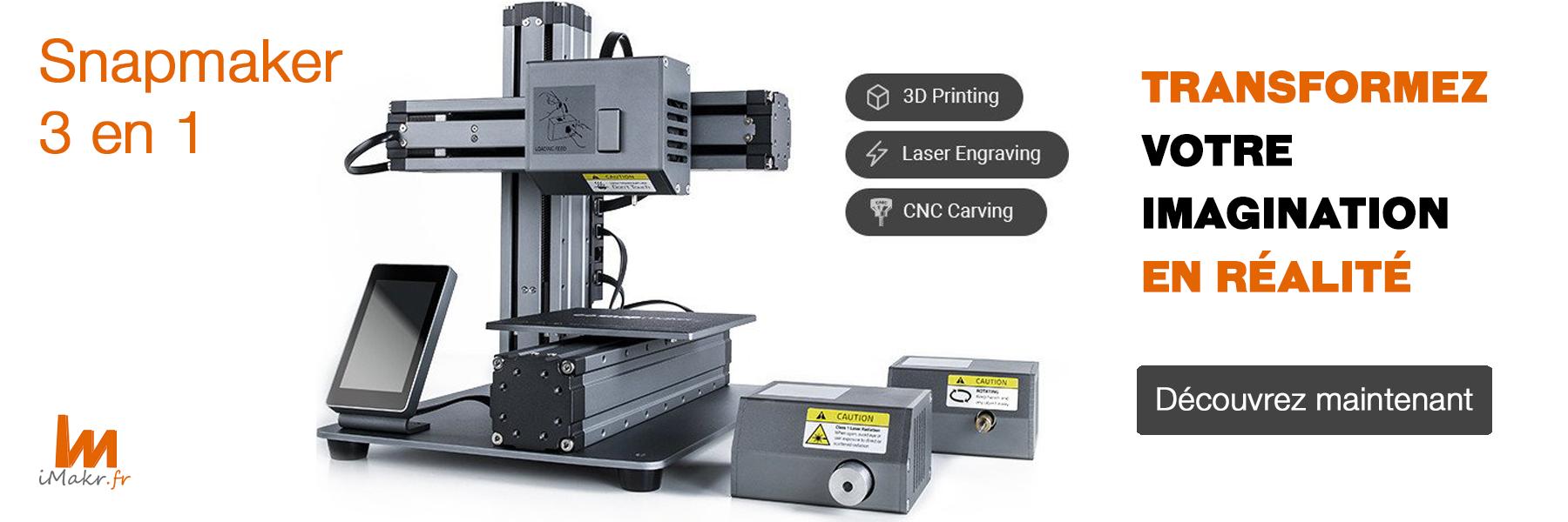 iMakr est un distributeur officiel des gammes Snapmaker : imprimantes, accessoires et pièces détachées.
